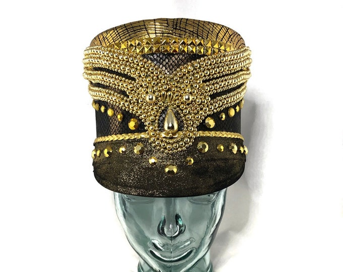 Gold Hearted Snake Festival Captain Hat, Burning Man Hat, Military Hat, March Band Hat, Custom Festival Accessories, Rave, Steampunk