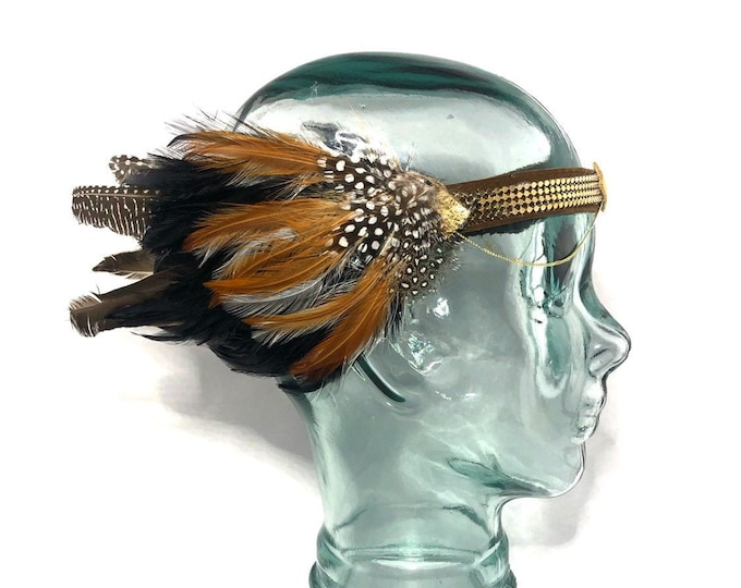 Feather Headpiece Festival Headband Headdress - Gold Chain Feathers Boho Hippie Headwear