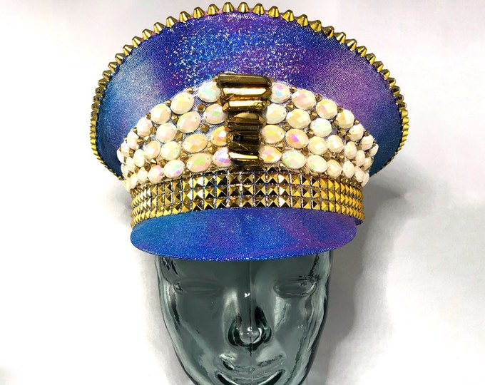 Gold Mine Pearl Hat, Festival Captain Hat, Burning Man Hat, Military Hat, March Band Hat, Custom Festival Accessories, Rave, Steampunk