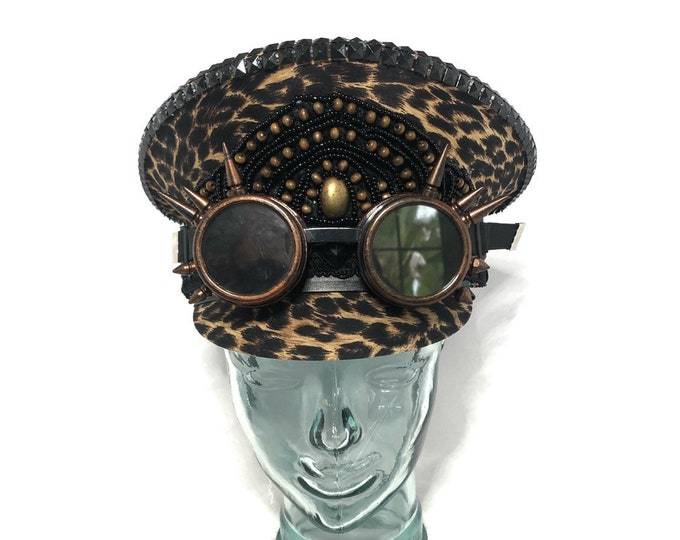 Leopard Dreams Festival Captain Hat, Burning Man Hat, Military Hat, March Band Hat, Custom Festival Accessories, Rave, Steampunk
