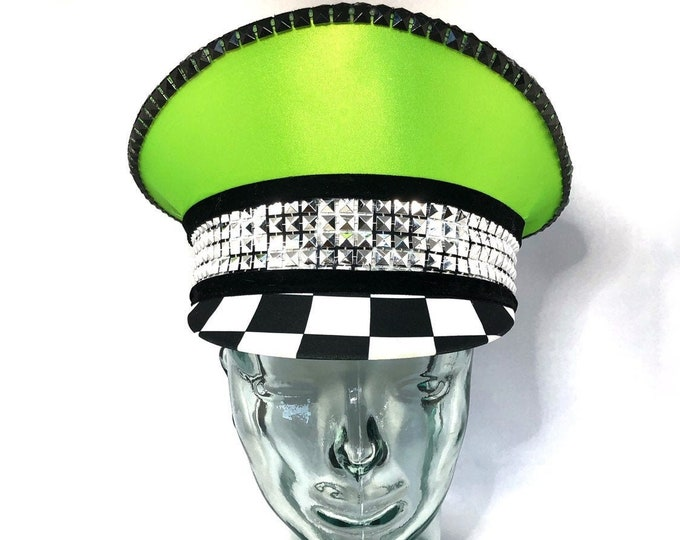 Neon Green Checkered Captains Hat, Light up, Festival Hat, Burning Man Hat, Military Hat, Marching Band Hat, Custom Festival Accessories
