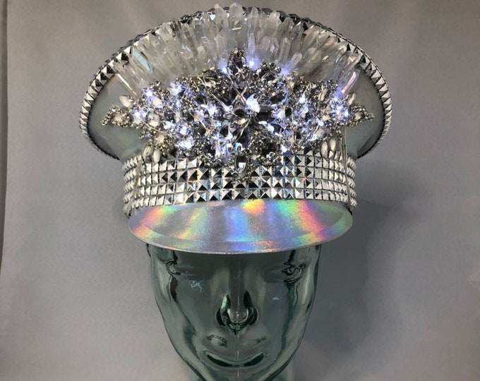 Light Up Holographic Captains Hat, Light up, Festival Hat, Burning Man Hat, Military Hat, Marching Band Hat, Custom Festival Accessories