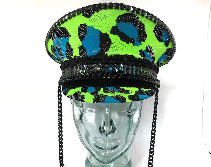 Lime Green Leopard Print Festival Captain Hat, Burning Man Hat, Military Hat, March Band Hat, Custom Festival Accessories, Rave, Steampunk