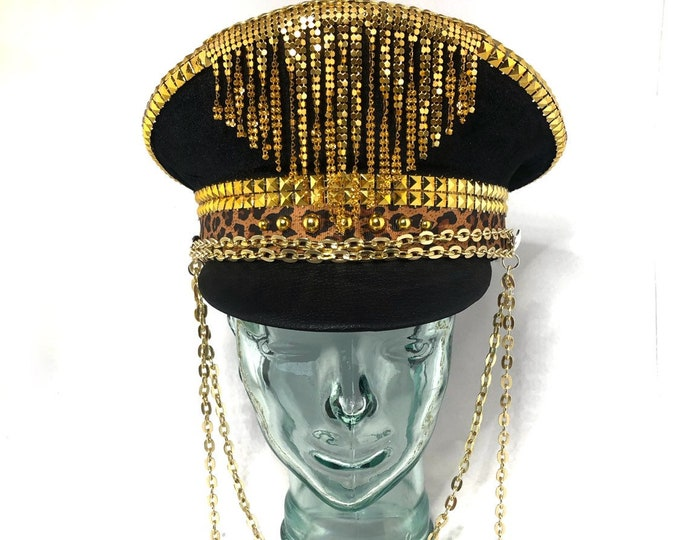 Black and Gold Chain Captains Hat, Goggles, Festival Hat, Burning Man Hat, Military Hat, March Band Hat, Custom Festival Accessories