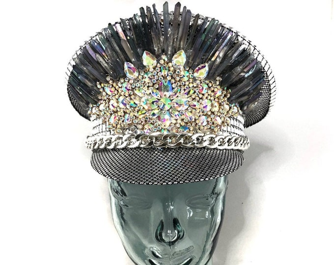 The Ice Queen Light Up Crystal Festival Captain Hat, Burning Man Hat, Military Hat, March Band Hat, Custom Festival Accessories, Rave, Steam