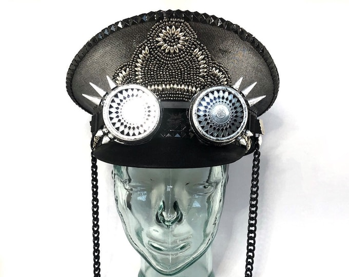 Slate Silver Captains Hat, Goggles, Festival Hat, Burning Man Hat, Military Hat, March Band Hat, Custom Festival Accessories, Rave,
