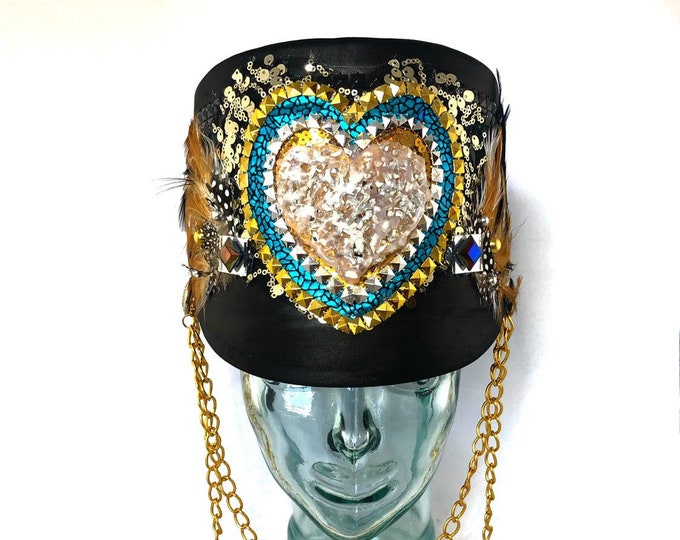 Leader of Love Marching Band Hat, Festival Captain Hat, Burning Man Hat, Military Hat, Custom Festival Accessories, Heart, Rave,Steampunk