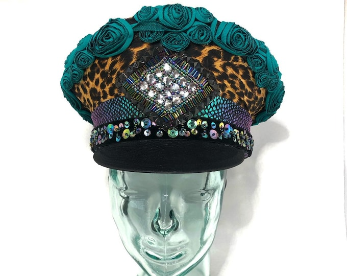 Leopard Print and Flower Captains Hat, Goggles, Festival Hat, Burning Man Hat, Military Hat, March Band Hat, Custom Festival Accessories