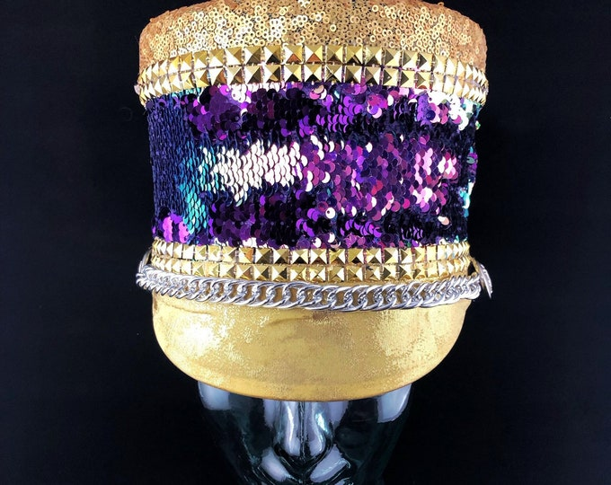 Purple and Gold Marching Band Hat, Festival Captain Hat, Burning Man Hat, Military Hat, Custom Festival Accessories, Rave, Steampunk
