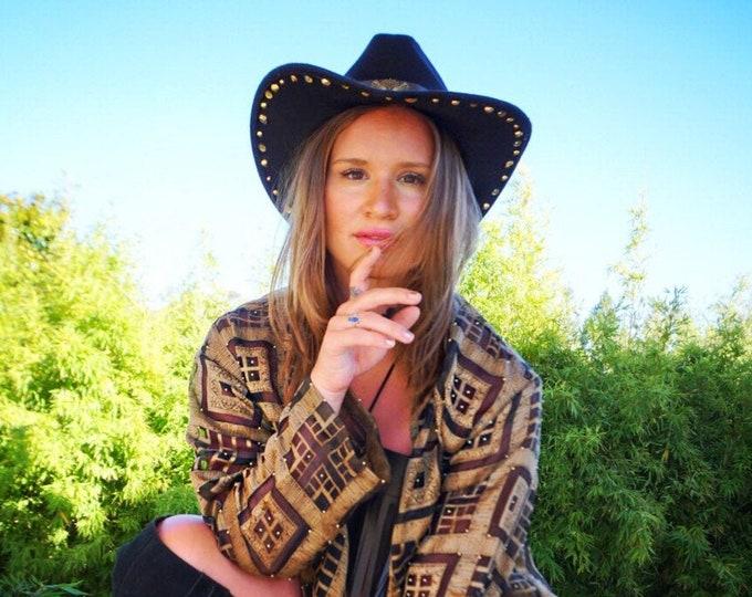 Black Studded Cowboy Hat, Cowgirl Hat, Festival Hat, Western Hat