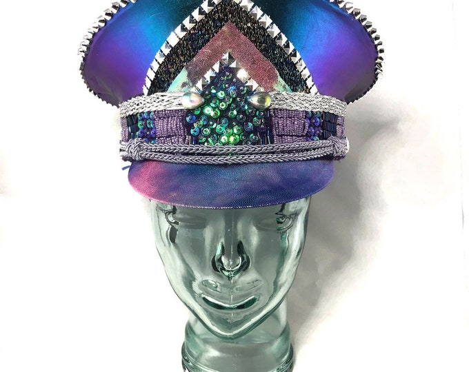 Cotton Candy Captains Hat, Festival Hat, Burning Man Hat, Military Hat, March Band Hat, Custom Festival Accessories, Rave, Steampunk