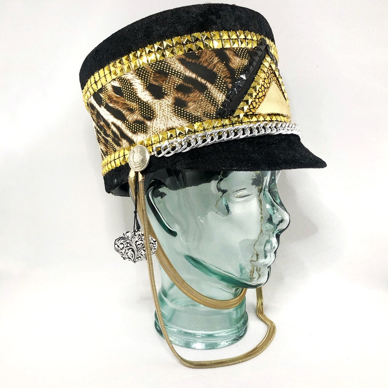 013182e29 Leopard Print Black Gold Marching Band Hat, Festival Captain Hat, Burning  Man Hat, Military Hat, Custom Festival Accessories, Rave,Steampunk