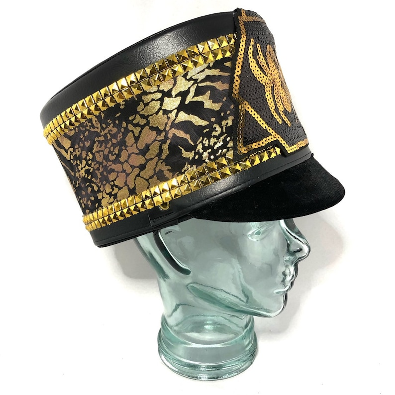 ee1724da7 Black Widow Gold Black Marching Band Hat, Festival Captain Hat, Burning Man  Hat, Military Hat, Custom Festival Accessories, Rave, Steampunk