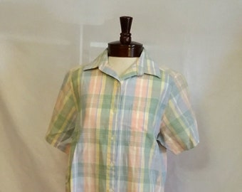 0c7ac829f32 SHOP CLOSING 70% OFF Vintage blouse Alfred Dunner pastel plaid blouse short  sleeve cotton blouse vintage clothing size 10