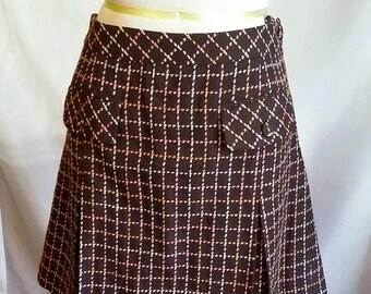 5de9a5506 SHOP CLOSING 70% OFF Womens pleat skirt Ann Taylor Loft check skirt pleated  skirt brown pink ivory skirt short skirt womens clothing size 12