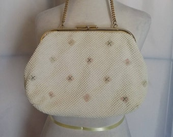 Sale 50% off 50s white bead handbag embroidered handbag top handle handbag womens handbags vintage accessories