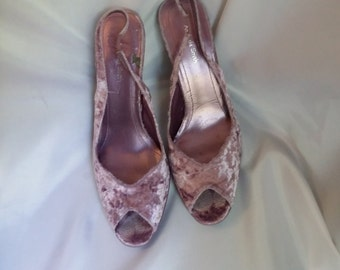 1e97e6e6fa9e01 SHOP CLOSING 70% OFF Womens formal shoes Amanda Smith lavender sling backs  crush velvet peep toes high heel shoes size