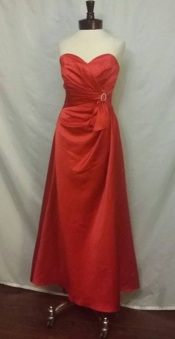 Shop Closing 70 Off Red Strapless Formal Gown Red Bridesmaid Etsy
