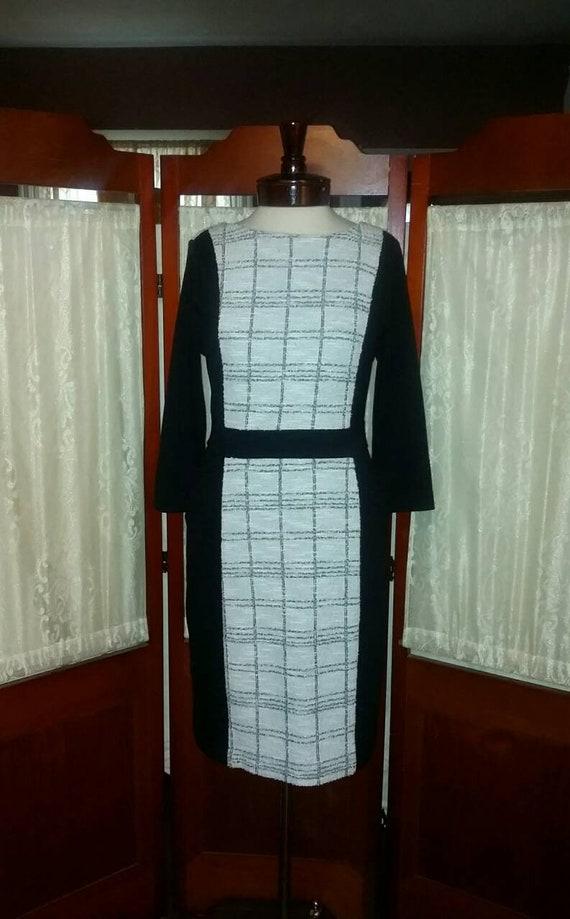 Vintage dress black white dress day dress womens c