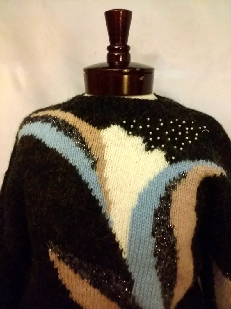 SHOP CLOSING 70/% OFF 80s abstract sweater size sm mohair sweater metallic sweater winter sweater vintage clothing size sm