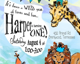 Printable 'Full-Color Hand Illustration' Zoo Birthday Invitation