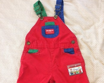 Vintage Kid's OshKosh B'Gosh Red Blue Green Overalls 18 Months Primary Colors