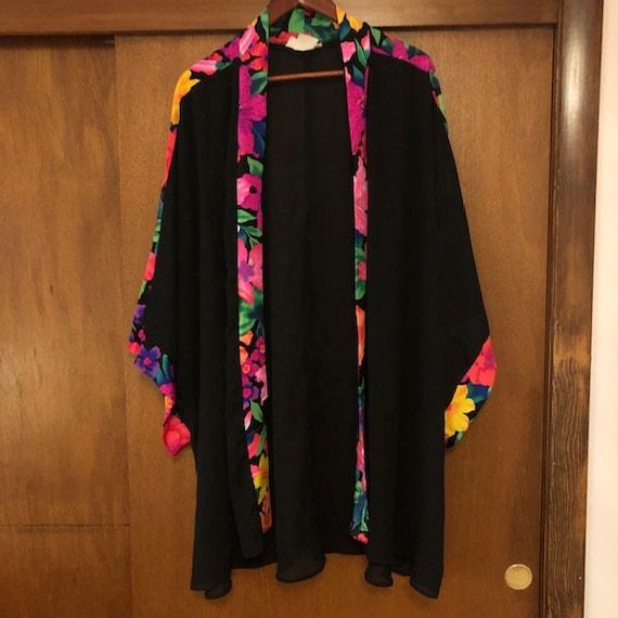 Vintage Black Neon Floral Swim Coverup Kimono By R