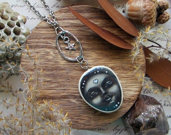 """Pebble necklace """"Moonlight"""" featuring moon goddess on dangling star sterling silver pendant. Custom length chain."""