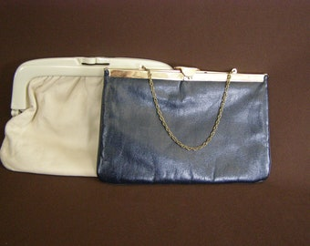 8edbf5deee Two Vintage Classy Clutches  Purses. One vanilla colored leather