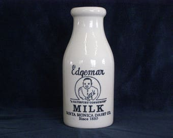 Edgemar Milk  Bottle Crock Santa Monica Dairy Co. Vintage Milk Bottle Crock