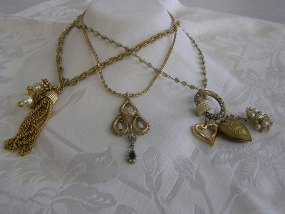 f9809cb56d88f Vintage Costume Jewelry, Necklaces I created using vinatge pieces of  jewelry. Lot of 3 pieces. (jewl 11)