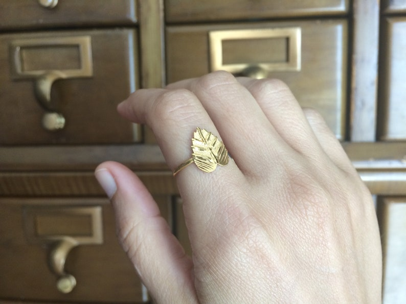 Gold Leaf Ring High Karat 24k Yellow Size 6 Unique One of a Kind Engagement Wedding Anniversary Gift for Her Nature Lover Fine Jewelry