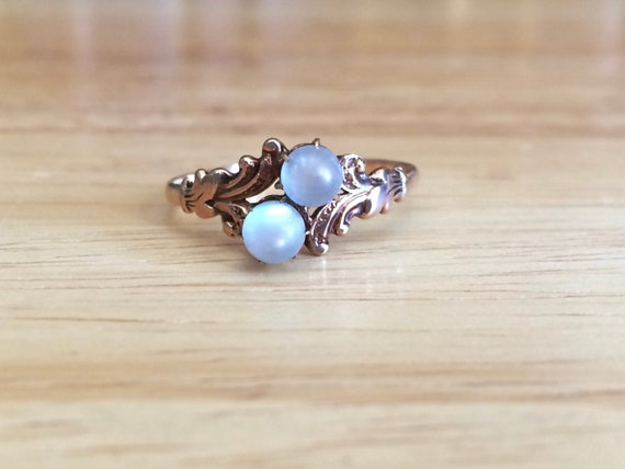 Antique Victorian Moonstone Bypass Ring Moi et Toi 10k Yellow Gold Size 8 3/4 Engagement Wedding Anniversary Gift Vintage Fine Jewelry