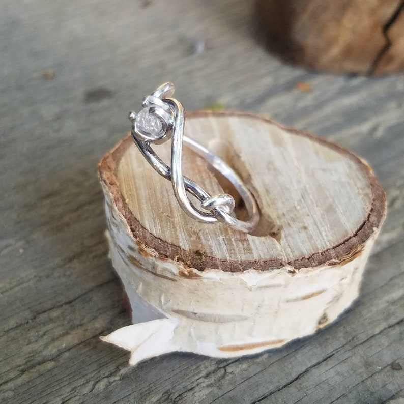 Sterling silver and raw diamond ring Wedding ring Raw diamond ring Engagement ring   diamond engagement ring unique ring ooak one of a kind