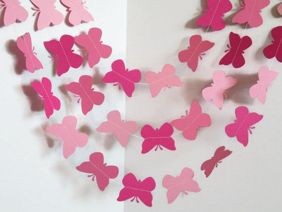 Pink Butterfly Garland Shades Of Pink Decor Baby Shower Etsy