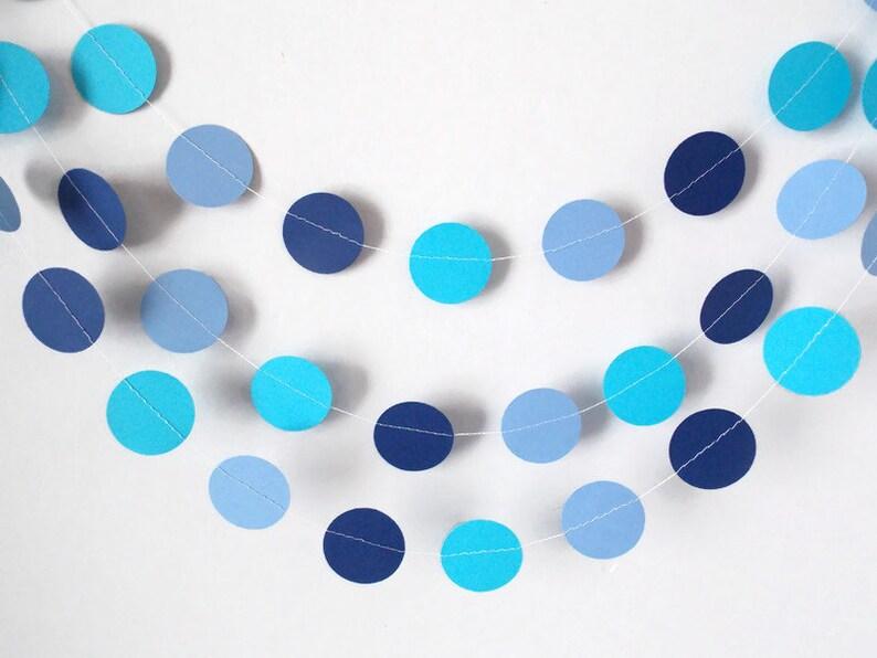 Navy Blue Birthday decorations Blue and Aqua circle garland Baby shower garland Cake smash backdrop