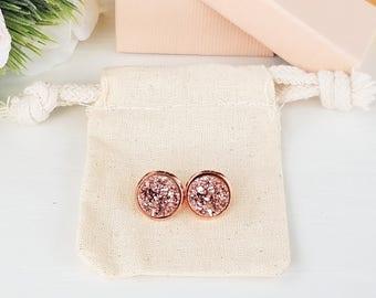 Mothers Day gift, stud earrings, druzy earrings, rose gold earrings, mothers day, rose gold druzy earrings, rose gold, druzy, bridesmaid