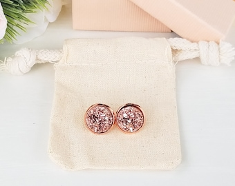 Stud earrings, bridesmaid gift, rose gold druzy, rose gold druzy earrings, bridal party gift, druzy stud earrings, druzy earrings, druzy