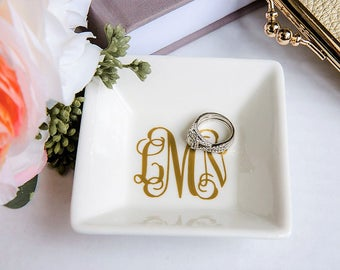 154cb2a90 Jewelry dish, personalized ring dish, bridesmaid gift, personalized jewelry  dish, bridal shower gift, monogram ring dish, free shipping