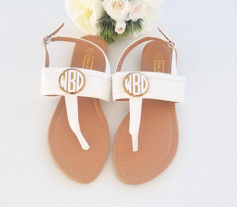 964e814615ec9 Monogram sandals, bridal gift, monogram womens sandals, bridal sandals,  monogram summer sandals, monogram flip flops, gift for her, monogram