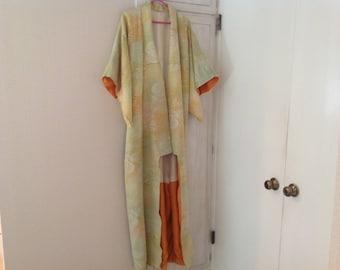 Vintage kimono, raw silk, shades of pale green, peach, gold, orange