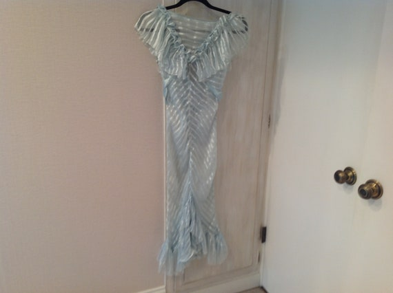 Antique aqua striped silk ruffle dress circa 1920