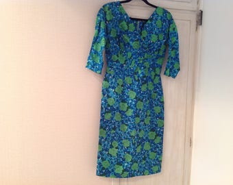 Vintage 50s dress, silk, blues and greens