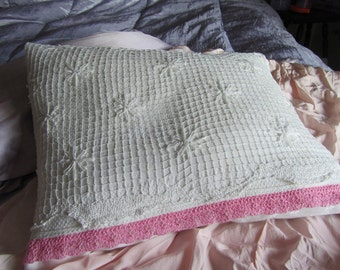white lace pillow, handmade with antique lace and vintage fabric