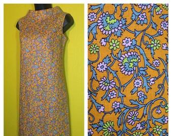 Vintage '60s Orange Floral Shift Dress, Size S