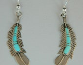 Navajo Native American Blue Turquoise Sterling Silver Feather Earrings 2 1 8 quot