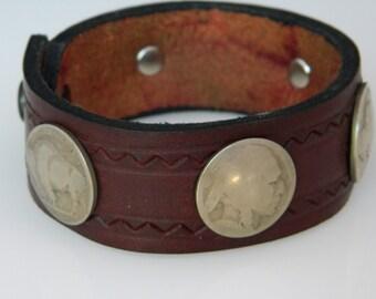 Native American Navajo BrownLeather Nickel Silver Cuff Bracelet Mens