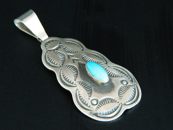 Native American Santo Domingo Turquoise Sterling Silver Handmade Pendant  Signed Chimney Butte 2 7/8