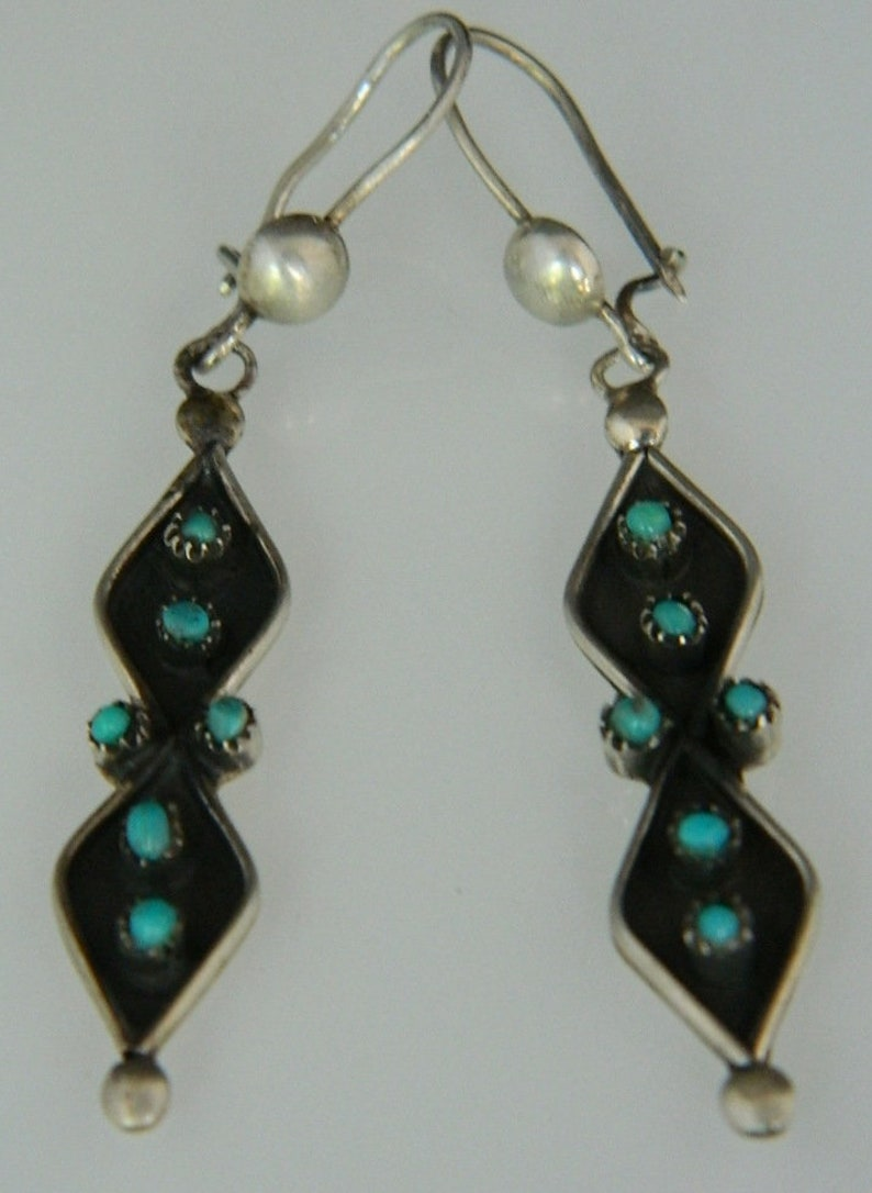Native American Navajo Old Pawn Turquoise Sterling Silver Handmade Post Earrings 2 12