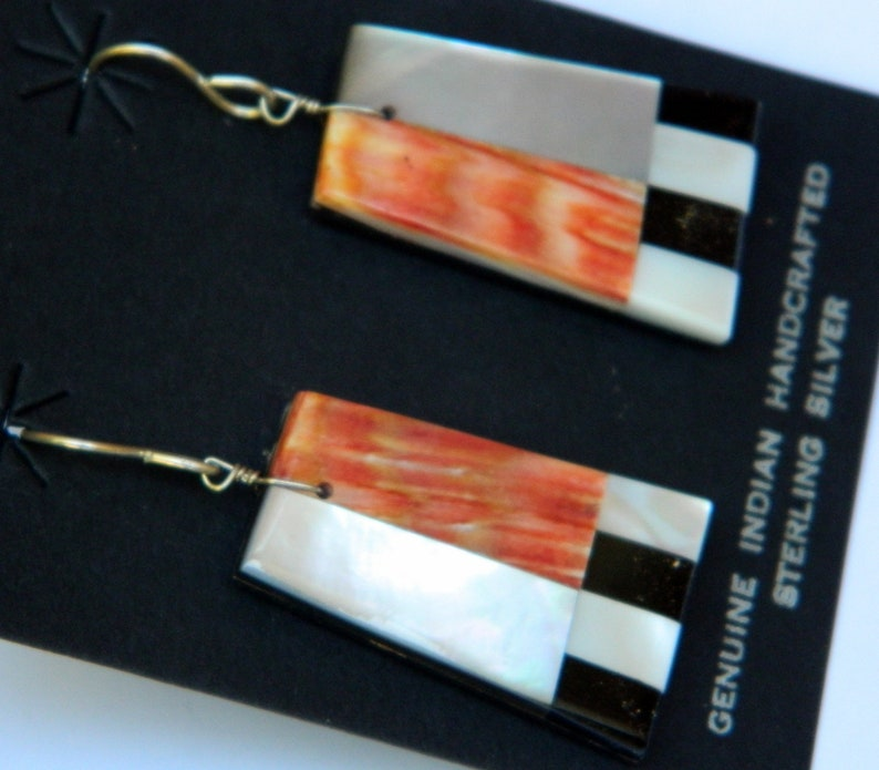 Native American Santo Domingo Orange Spiny Oyster Jet Mother of Pearl Sterling Silver Mosaic Earrings 1 78